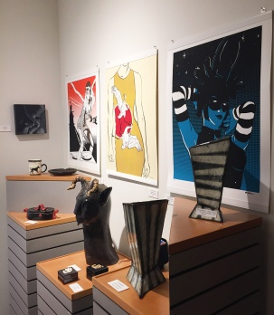 Andrea Davis (screen prints), Su Harvey (sculpture), Jeani Gustafson (ceramics)