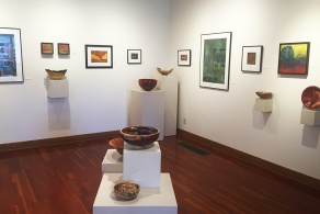 Jan Fox (encaustic), Valerie Knobel (oil paintings), Mark Entzminger (turned wood)