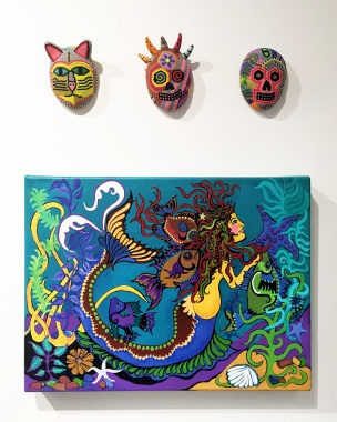 Carol DeVall (beadwork), Sharon Cech (painting)