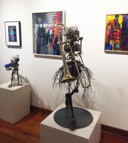 3D: Scott Grossenbacher (sculpture) // ON WALL: Meghan Stratman (collage), PJ Peters (wood/metal), Robert Esquivel (painting)