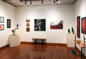 Gretchen Olberding (pastels & sculptures), Larry Schwisow (cutting boards), Alias Kane (paintings)